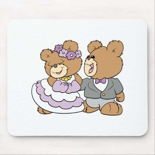 osos de peluche lindos felices de novia y del novi mousepads
