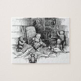 Osos de peluche que leen en la biblioteca rompecabeza
