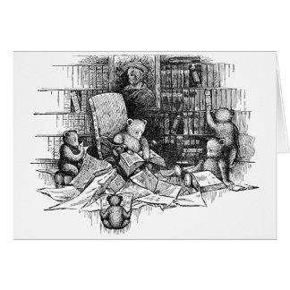 Osos de peluche que leen en la biblioteca felicitación