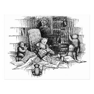 Osos de peluche que leen en la biblioteca