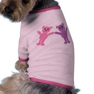Osos de peluche rosados y púrpuras lindos del dibu camisetas mascota