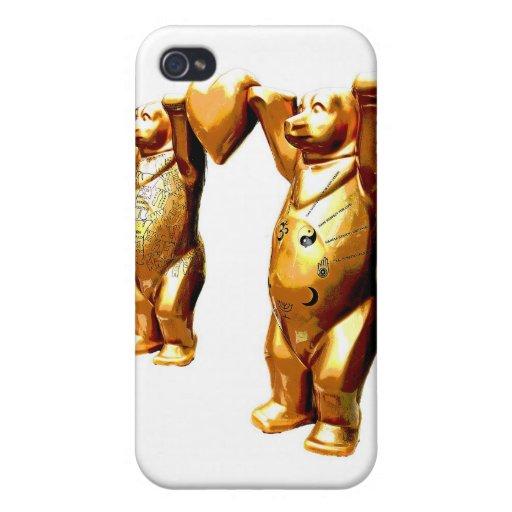 Osos de peluche y corazón, oro, parte posterior de iPhone 4 cárcasa