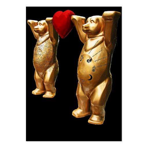 Osos de peluche y corazón rojo, parte posterior tarjetas de visita grandes