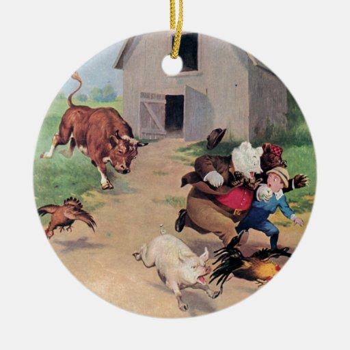 Osos de Roosevelt corridos de una Bull abajo en la Ornamentos Para Reyes Magos