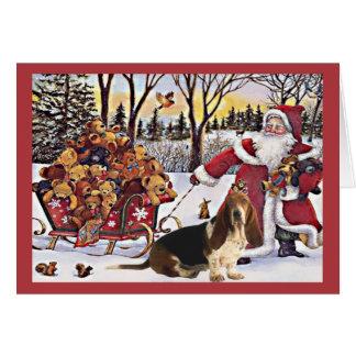 Osos de Santa de la tarjeta de Navidad de Basset H