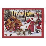 Osos de Santa de la tarjeta de Navidad de Sheltie