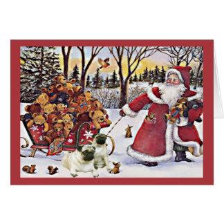 Osos de Santa de la tarjeta de Navidad del barro a