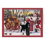 Osos de Santa de la tarjeta de Navidad del caniche