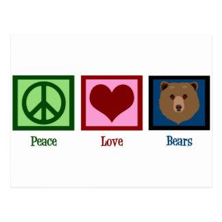 Osos del amor de la paz tarjetas postales