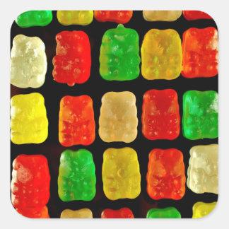 Osos del caramelo pegatina cuadrada