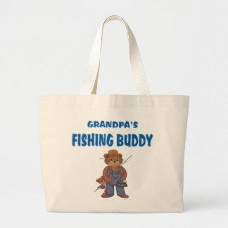 Osos del compinche de la pesca del abuelo bolsa tela grande