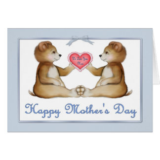 Osos del gemelo - muchachos el el día de madre tarjeta de felicitación