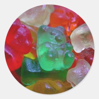 Osos deliciosos y gomosos (algunos gusanos en pegatina redonda