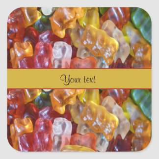 Osos dulces de Gummi Pegatina Cuadrada