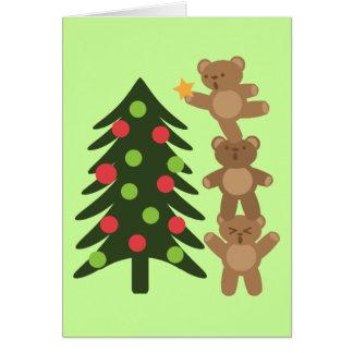 Osos en el navidad tarjeta de felicitación