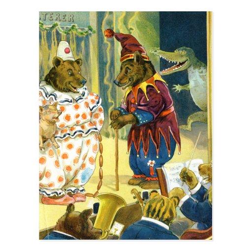 Osos en un desfile del navidad en la tierra animal postales