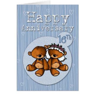 osos felices del aniversario - 16 años tarjeta de felicitación