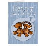 osos felices del aniversario - 1 año tarjetón
