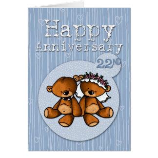 osos felices del aniversario - 22 años tarjeta de felicitación