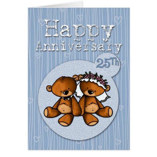 osos felices del aniversario - 25 años tarjeta de felicitación