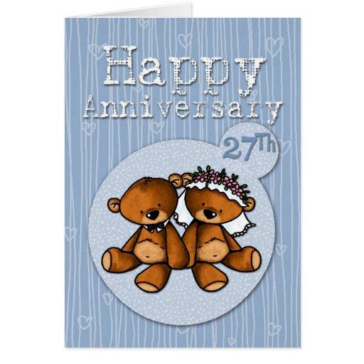 osos felices del aniversario - 27 años tarjeta de felicitación