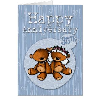 osos felices del aniversario - 35 años tarjeta de felicitación