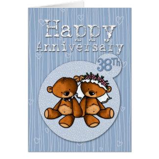 osos felices del aniversario - 38 años tarjeta de felicitación