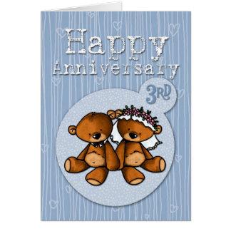 osos felices del aniversario - 3 años tarjeta de felicitación