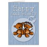 osos felices del aniversario - 41 años tarjeta de felicitación