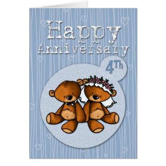osos felices del aniversario - 4 años tarjeta de felicitación