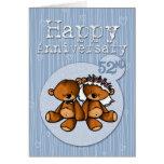 osos felices del aniversario - 52 años tarjeton