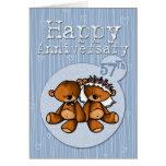 osos felices del aniversario - 57 años tarjetón