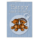 osos felices del aniversario - 6 años tarjetas