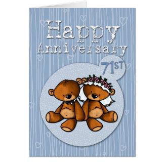 osos felices del aniversario - 71 años tarjetas