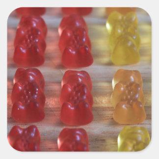 Osos gomosos del oso del oro pegatina cuadrada