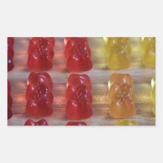 Osos gomosos del oso del oro pegatina rectangular