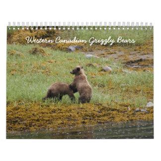 Osos grizzly canadienses occidentales calendarios de pared