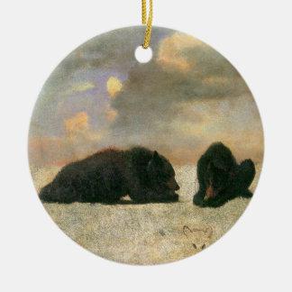 Osos grizzly de Albert Bierstadt, animales del Adorno Redondo De Cerámica