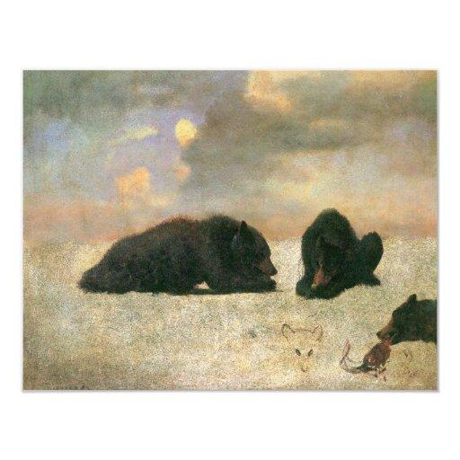 Osos grizzly de Albert Bierstadt, animales del Invitación 10,8 X 13,9 Cm
