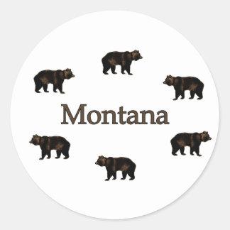 Osos grizzly de Montana Etiqueta Redonda