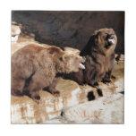 Osos grizzly teja cerámica