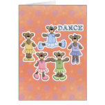 Osos lindos de la bailarina del baile tarjetas