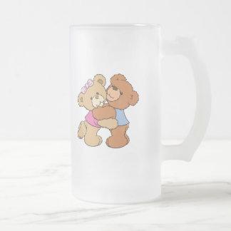Osos lindos del abrazo de oso taza de cristal