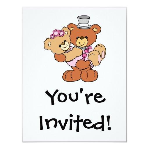 """osos lindos del boda de la novia del novio que invitación 4.25"""" x 5.5"""""""
