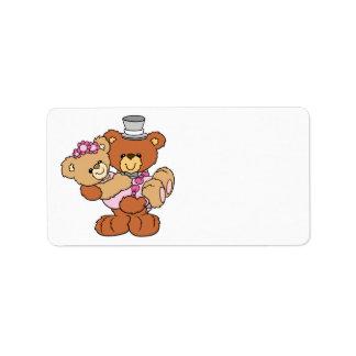osos lindos del boda de la novia del novio que lle etiquetas de dirección