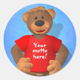 Osos pequeños: ¡Su oso del lema! Pegatina Redonda