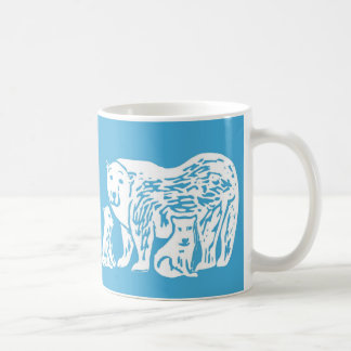 Osos polares azules y taza blanca