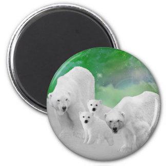 Osos polares, cachorros y aurora boreal imanes