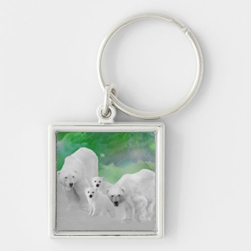 Osos polares, cachorros y aurora boreal llaveros