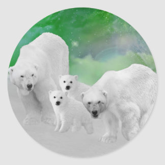 Osos polares, cachorros y aurora boreal etiqueta redonda